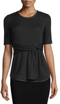 3.1 Phillip Lim Short-Sleeve Ribbed Tie-Front Tee, Black