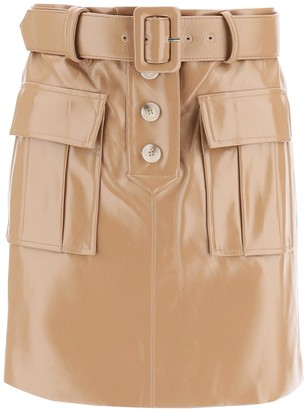 Self-Portrait Faux Leather Mini Skirt