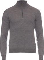 Brioni High-neck zip-front wool sweater
