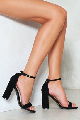 Nasty Gal Womens Black Faux Suede and High Block Heel Sandal