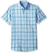 Izod Men's Saltwater Dockside Chambray Plaid Short Sleeve Shirt