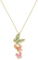 Effy 14K Yellow Gold Diamond, Sapphire & Tsavorite Butterfly Pendant Necklace