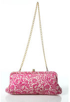 Lilly Pulitzer Multi Colored Linen Snap Top Closure Gold Tone Clutch