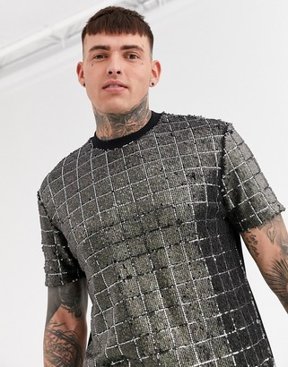 Asos Design DESIGN relaxed t-shirt in all over sequin check