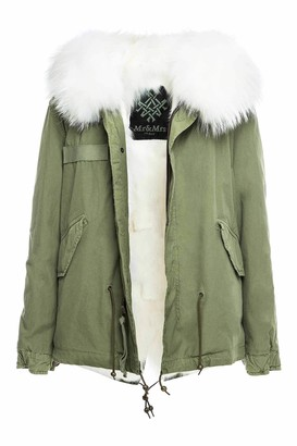 Mr & Mrs Italy Fw20 Icon Parka: Army Cotton Mini Parka With Fox Fur Lining