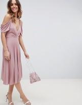 Asos Design DESIGN cold shoulder cowl back pleated midi dress