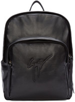 Giuseppe Zanotti Black Buffed Leather Logo Backpack