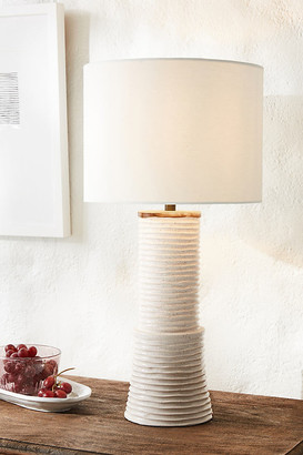 Anthropologie Brooklyn Ceramic Table Lamp By in White Size M