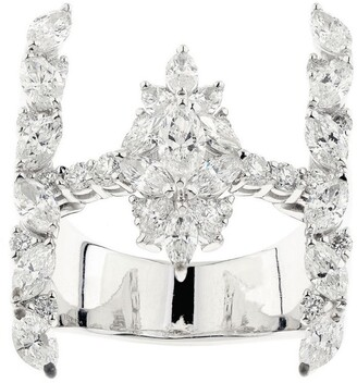 YEPREM White Gold and Diamond Y-Not Crown Ring