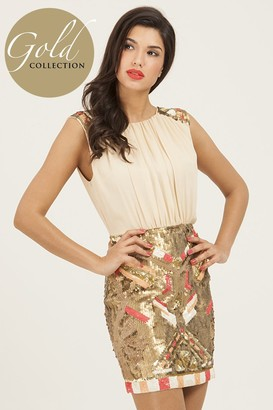 Little Mistress Cream 2 in 1 Heavily Embellished Bodycon Dress