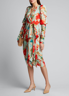Badgley Mischka Floral Balloon-Sleeve Dress with Side-Bow Dress