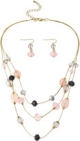 JCPenney MIXIT Mixit Multicolor Pastel Beads 3-Row Illusion Necklace and Earring Set