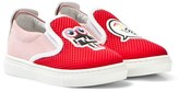 Fendi Red Mesh Monster Slip Ons