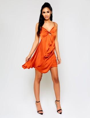 Public Desire Rust Drape Cut Out Mini Dress