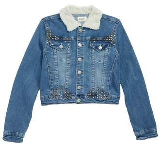 Hudson Jeans Mariah Crop Denim Jacket with Faux Shearling Collar (Big Girls)