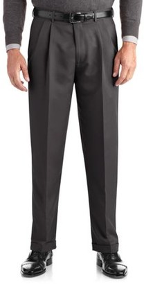 George Men's Pleated Cuffed Microfiber Dress Pant With Adjustable Waistband