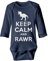 PWIND OUTfit Keep Calm And Rawr T-Rex Dinosaur Kids Long Sleeve Bodysuits Jumpsuit