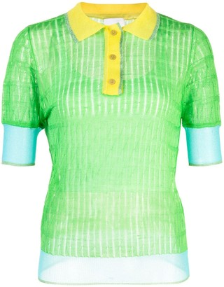 I-Am-Chen Silk Panelled Polo Top