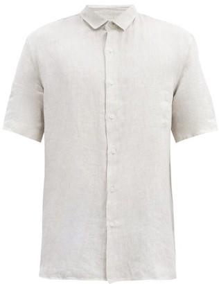 Sunspel Linen Short-sleeved Shirt - Cream
