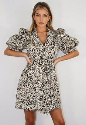 Missguided Stone Leopard Print Puff Sleeve Wrap Blazer Dress
