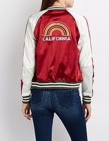 Charlotte Russe California Striped Colorblock Bomber Jacket