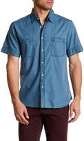 Billy Reid Donelson Standard Fit Short Sleeve Plaid Linen Shirt
