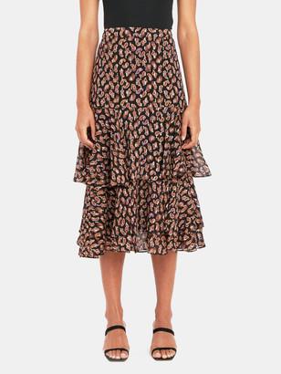 Diane von Furstenberg Meg Silk Metallic Tiered Midi Skirt