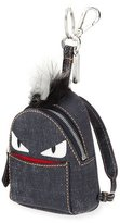 Fendi Monster Denim Backpack Charm W/Fur, Blue