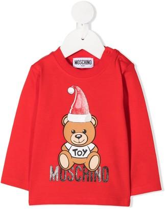 MOSCHINO BAMBINO long sleeve teddy print T-shirt