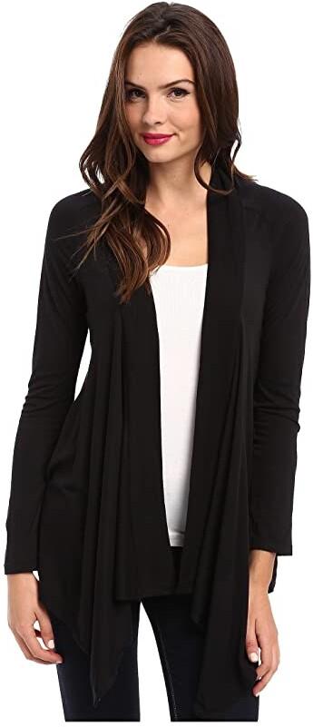 Exclusive Very Light Jersey Drape Cardigan (Black) Women's Sweater