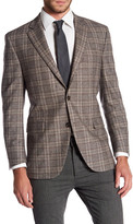 Peter Millar Brown Windowpane Notch Collar Two Button Classic Fit Wool Sports Coat