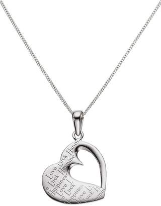 Moon & Back 'Love Luck Happiness' Pendant 18 Inch Necklace