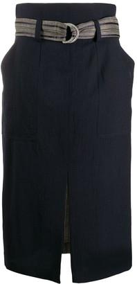 Lorena Antoniazzi belted front slit detail skirt