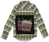 Butter Shoes Girls' Embellished Iced Coffee Flannel Shirt - Sizes S-XL