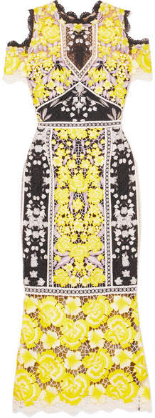 Marchesa Cold-shoulder Embroidered Guipure Lace Midi Dress - Yellow