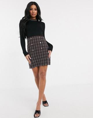 Lipsy 2 in 1 mini dress in check