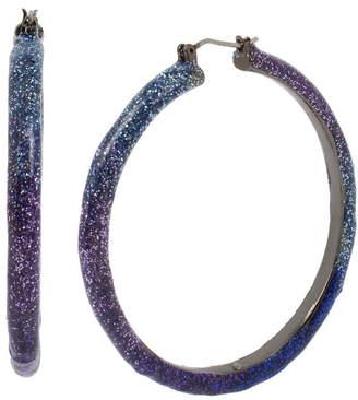 "Betsey Johnson Large Glitter Ombre Hoop Earrings 2.1"""
