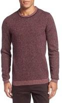 Ted Baker Modern Slim Fit Herringbone Crewneck Sweater