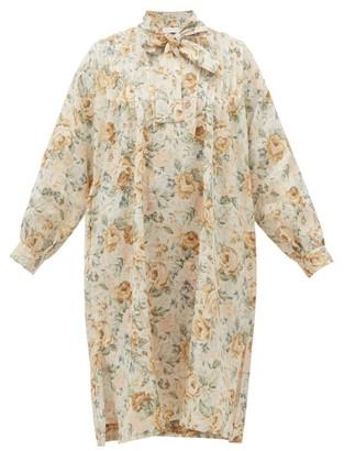 Ephemera - Tie-neck Floral-print Linen Dress - Yellow Multi