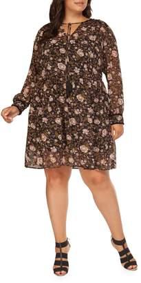 Dex Plus Floral Knee-Length Dress