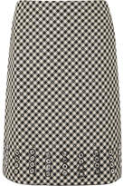 Bottega Veneta Eyelet-embellished Gingham Cotton And Wool-blend Skirt - Black