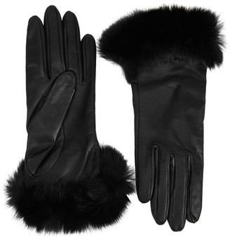 Dents Glamis Black Fur-trimmed Leather Gloves