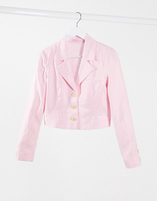 And other stories & co-ord linen cropped blazer in pink