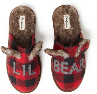 "Dearfoams Kids' Lil Bear"" Buffalo Check Scuff Slippers"