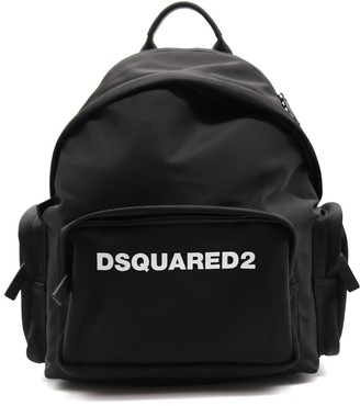 DSQUARED2 Black Backpack In Technical Fabric With Logo
