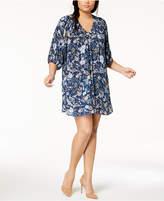 Eyeshadow Trendy Plus Size Smocked V-Neck Peasant Dress