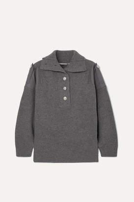 Stella McCartney Twill-paneled Ribbed Wool Sweater - Gray