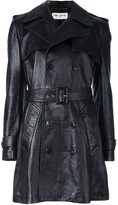 Saint Laurent belted short leather coat