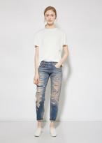 R 13 Selvedge Shredd Relaxed Skinny Jean