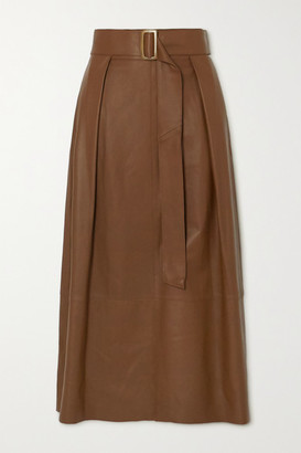 Vince Belted Leather Midi Skirt - Tan